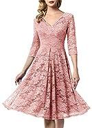 AONOUR Women's Vintage Floral Lace Bridesmaid Dress 3/4 Sleeve Wedding Party Midi Dress