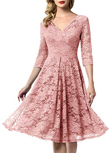 AONOUR 0056 Women's Vintage Floral Lace Bridesmaid Dress 3/4 Sleeve Wedding Party Midi Dress Blush XL