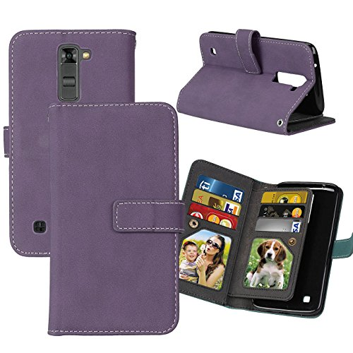 LG Phoenix 2 Case, LG Escape 3 Case, LG K8 Case, Ranyi [Matte Leather Wallet] [9 Card Slots] [2 Photo Slot] Hand-stitching Leather Flip Wallet Case for LG Phoenix 2/LG Escapte 3/LG K8 (purple) ()