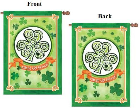 St Patricks Flag Ireland Forever 2 Sided Erin Go Brach Vertical Banner (Sided Banner 2 Flag Premier)
