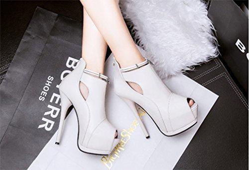 Chaussures Blanc eclair talons cuir hauts Xianshu à en fermeture verni terre Plateau de Pompes 1npxqqIO4