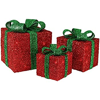 Amazon.com: Set of 3 Lighted Silver Glitter Gift Box Christmas ...