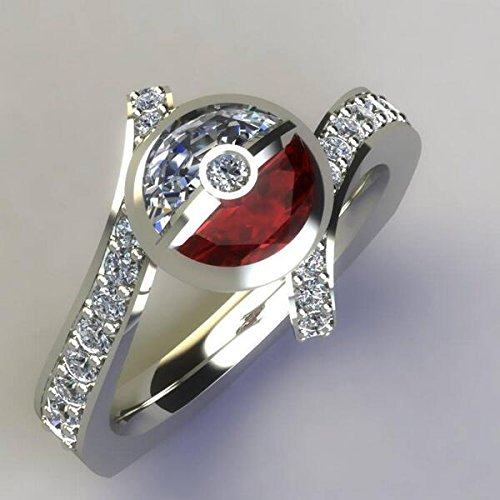 Pokemon Pokeball 925 Sterling silver Round cut diamond engagement wedding ring in all - Jewellery Tiffany Genuine