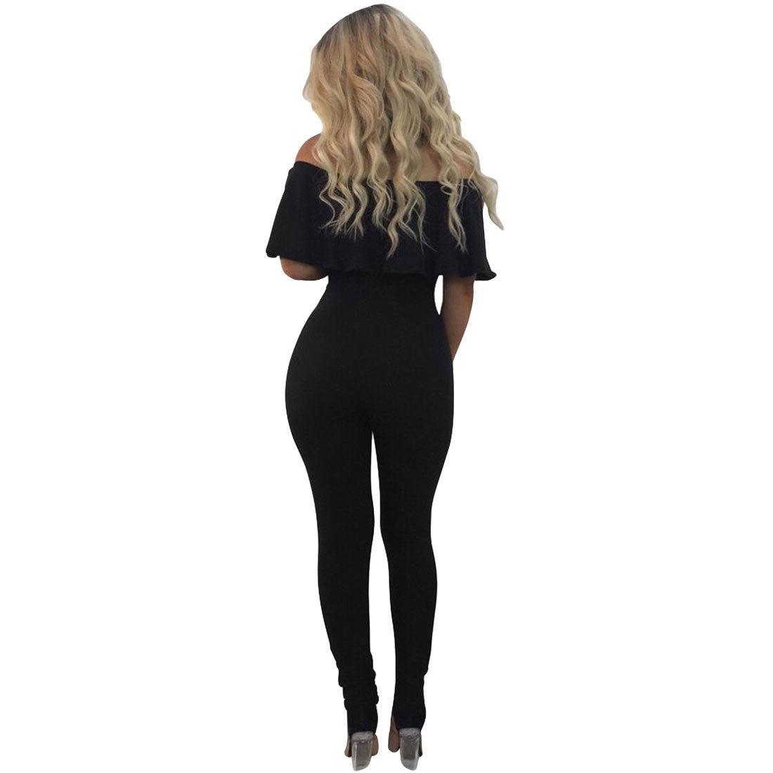 fab7c363705 BU-Bauty Women s Off Shoulder Ruffle Bodycon Jumpsuit Cut Out Hole Legging  Rompers Outfit  Amazon.co.uk  Clothing