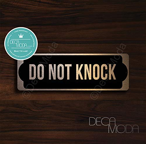 Deca Moda Do Not Knock Sign, Door Sign, Please Do Not Knock Signs, Do Not Knock Door Sign, Copper Finish, 9 x 3 inches