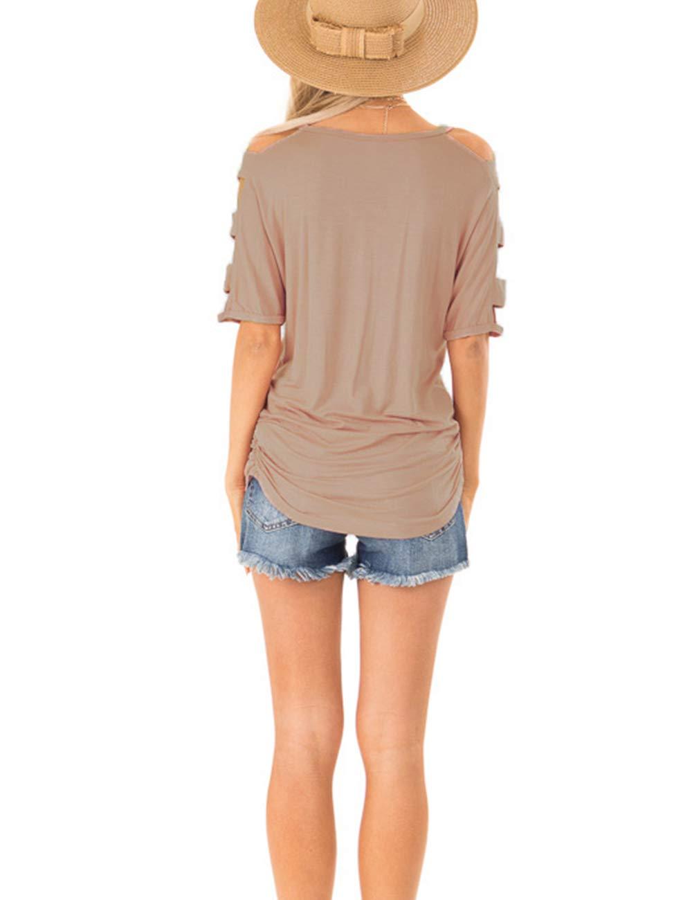 Eanklosco Womens Summer Short Sleeve Cold Shoulder Tops V Neck Basic T Shirts (Light Coffe, L)