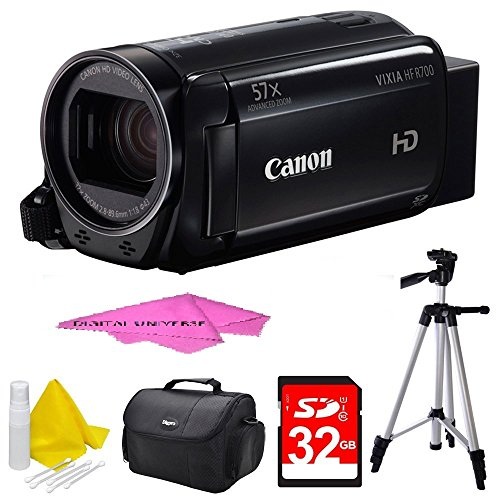 Canon VIXIA HF R700 Full HD Black Camcorder Deluxe Bundle - Black with 32GB SDHC High Speed Memory Card by Canon