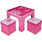 Rexco Childrens Kids Toddler Square Folding Princess Design Table and Chairs Stool Set Foldable Playroom Bedroom Childs Nursery Furniture Xmas Gift