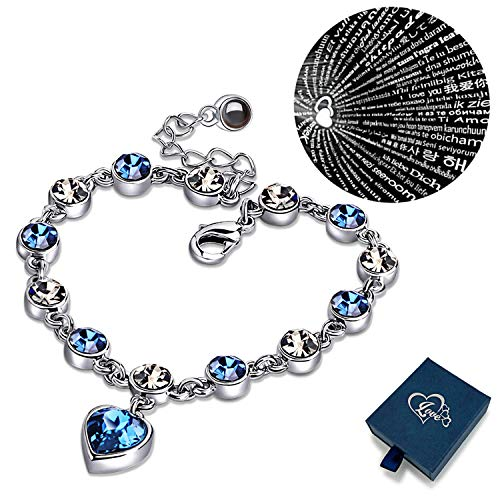 XingYue Jewelry Love Heart Ocean Blue Crystal Bracelet Women and Teens Sapphire Birthstone 100 Languages Projection ()