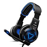 CH-1 Gaming Headset for Playstation 4,PC,Pro Noise-canceling Microphone, Stereo Surround Sound, Best Game Background Sound Headphones for PS4,PS3, MacBook, LED Lights -Blue