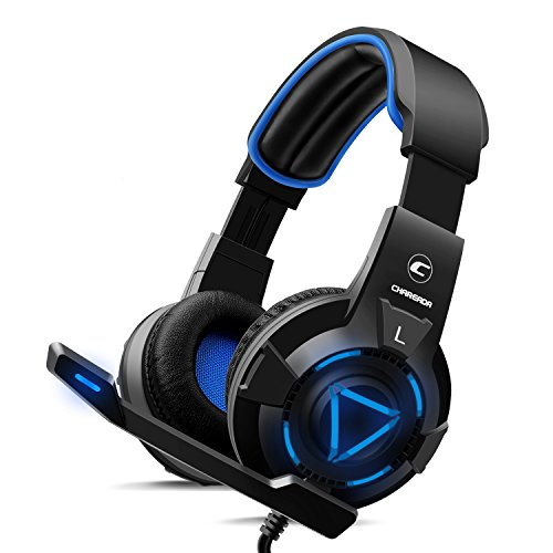 CH-1 Gaming Headset for Playstation 4,PC,Pro Noise-canceling Microphone, Stereo Surround Sound, Best Game Background Sound Headphones for PS4,PS3, MacBook, LED Lights -Blue by CHAREADA