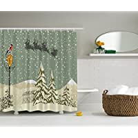 Ambesonne Año Nuevo Cortina de baño Santa Claus's Flying Reno Navidad Verde Beige Blanco