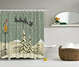 Christmas Curtains New Year Shower Curtain Santa Claus's Flying Reindeer Christmas Green Beige White