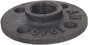 "MroMax Floor Flange Pipe 80mm/3.15"" Base Diameter Decor Cast Iron Pipe Floor Pipe Fitting Industrial Steampunk Vintage Retro Decor Furniture DIY Wall Industrial Plumbing, Gray Black 2pcs"