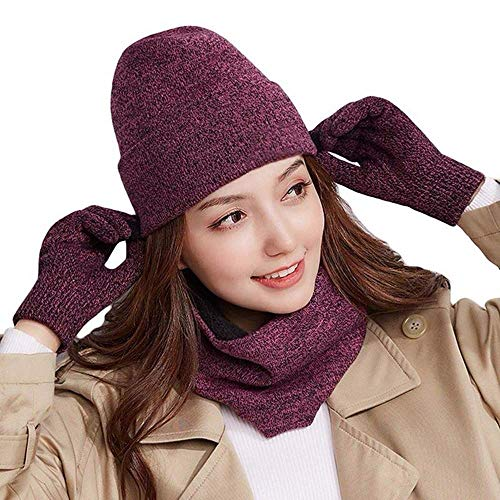 Knit Beanie Touch Screen Gloves + Hat + Scarf,Unisex 3 PCS Set Winter Warm Set For Men Women Children (Rose Red)