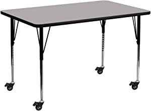 Flash Furniture Mobile 30''W x 60''L Rectangular Grey HP Laminate Activity Table - Standard Height Adjustable Legs