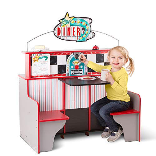 """Melissa & Doug Star Diner Restaurant (Play Set & Kitchen, Wooden Diner Play Set, Two Play Spaces in One, 35"""" H x 23"""" W x 43.5"""" L, Great Gift for Girls and Boys - Best for 3, 4, 5 Year Olds and Up)"""