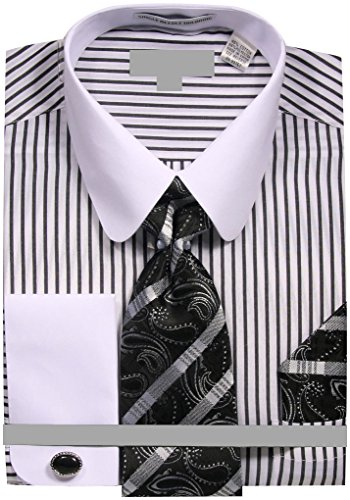 Mens Black Pinstriped - Sunrise Outlet Men's Pinstripe Dress Shirt with Tie Handkerchief Cufflinks - Black 17.5 36-37