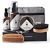 BEARD REVERENCE Premium Beard Grooming Kit for Men Care w/Upgraded Travel Bag – Organic Unscented Beard Oil, Beard Balm Butter Wax, Beard Wash, Scissors, Comb, Boar Bristle Brush with Gift Set Box