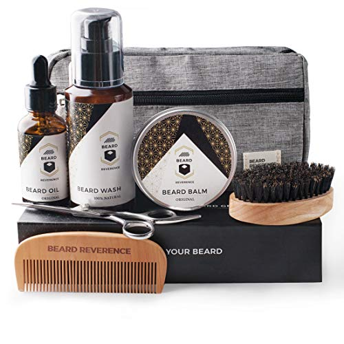 BEARD REVERENCE Premium Beard Grooming Kit for Men Care w/Upgraded Travel Bag - All-Natural Beard Oil, Beard Balm Butter Wax, Beard Wash, Scissors, Comb, Boar Bristle Brush with Gift Set Box