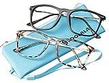 SOOLALA Designer Large Horn Rimmed Clear Lens Eyeglass Frame Reading Glasses, BlackTortoise, 2.75