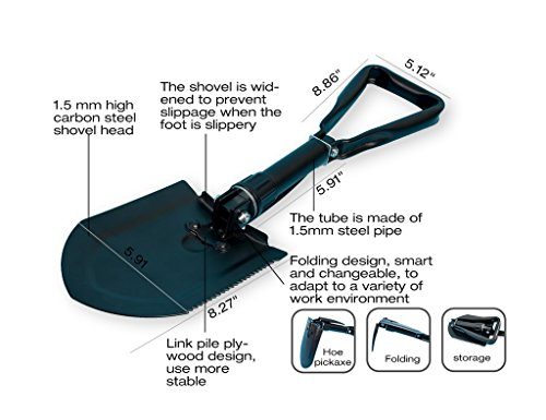 Maius Folding Shovel Camping Hiking Backpacking Entrenching Tool, Multifunctional Steel Spade with Pick