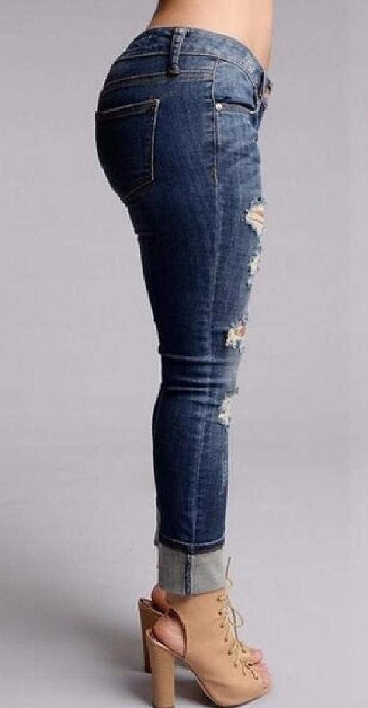 Abetteric Womens Low Waist Denim Pants Destroyed Fashionable Bodycon Jeans