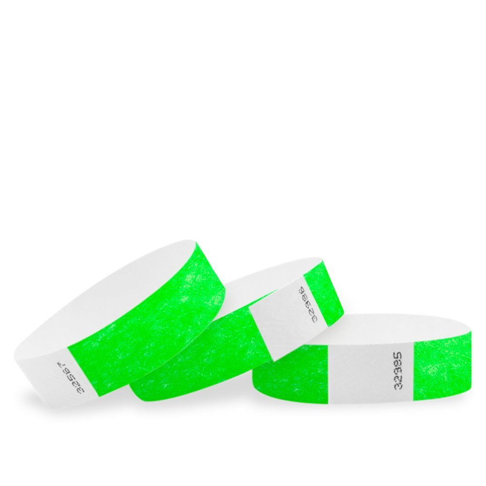 3/4 Tyvek Solid Color Wristbands - Pack of 100 - Secure Paper-Like Admission Band for Events by myZone Printing (Aqua)