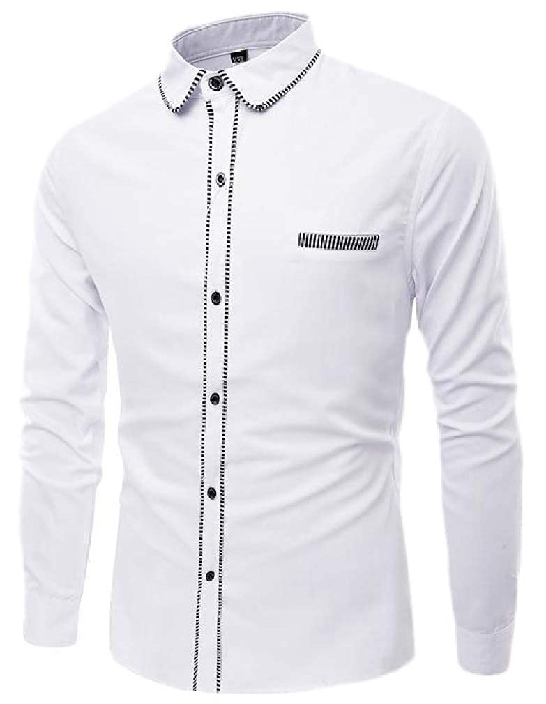 Sweatwater Mens Autumn Long Sleeve Striped Lapel Neck Button Down Shirts