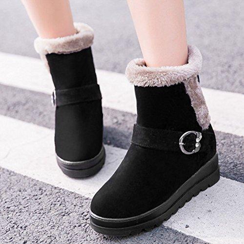Buckle Women's SaraIris Booties Plush for Boots Winter Flat Platform Ankle Black Warm rXqq7TB
