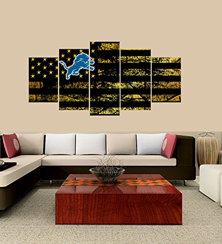 [Small] Premium Quality Canvas Printed Wall Art Poster 5 Pieces / 5 Pannel Wall Decor Detroit Lions logo Painting, Home Decor Football Sport Pictures- Stretched - Lion Wood Print