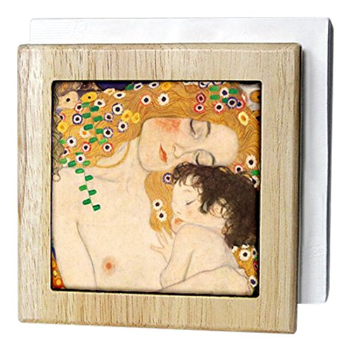 InspirationzStoreビンテージアート – 母と子by Gustav Klimt – 1905 – detail from the Three Ages of Woman – Mom and Baby Love – タイルナプキンホルダー 6