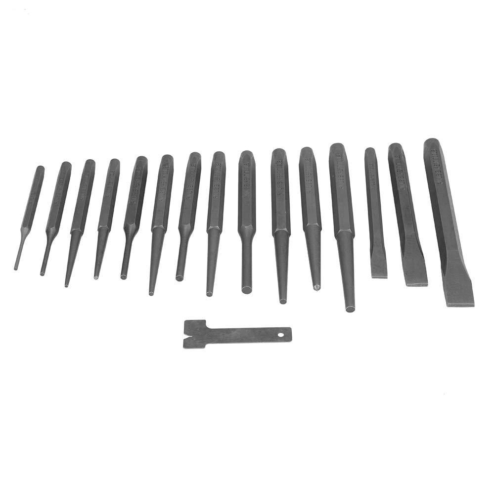 Juego de 16 punzones y cinceles mec/ánicos para m/áquina cincel de acero 5 perforadoras + 5 perforadoras c/ónicas + 3 cinceles fr/íos + 2 perforadoras centrales