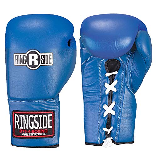 Ringside Competition Safety Gloves - Lace-Up (Blue, 12-Ounce) ()