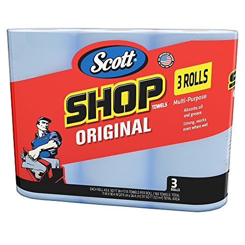 Scott 75143 Scott Shop Towels, Blue (3 Rolls, Pack of 165)