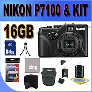 COOLPIX P7100 10.1 MP Digital Camera with 7.1x Optical Zoom NIKKOR ED Glass Lens and 3-Inch Vari-Angle LCD W/16GB SDHC Memory + SDHC Memory Card Reader + Shock Proof Deluxe Case w/Strap + Memory Card Wallet + Zing Microfiber Cleaning Cloth + Mini Tripod + Accessory Saver Bundle!