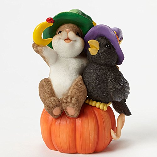 Enesco Halloween Charming Tails Crow Closer Figurine, 3.5-Inch