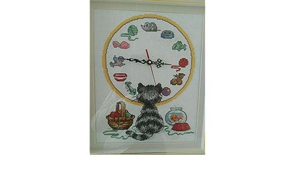 Amazon.com: Cat and Clock Counted Cross Stitch, suzuki Clock, cotton Thread, 14ct 52x45cm Clock Cross Stitch Kits