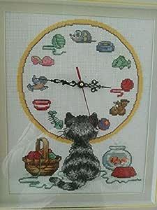 Gato y punto de cruz, SUZUKI reloj, DMC, 14ct 52 x 45 cm ...