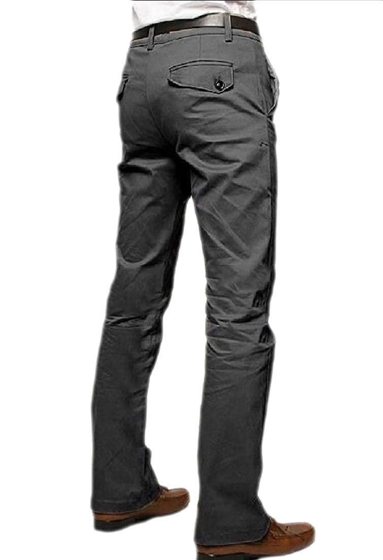 Abetteric Mens Cotton Straight Leg Long Fashion Solid All-Match Casual Pants