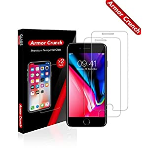 [Armor Crunch] 2-Pack Advanced iPhone 8/7/6S/6 Tempered Glass Screen Protector (9H Hardness) - Ultra-Thin, Anti-Glare Smartphone Protection with Oleophobic Coating - Scratch & Shatter Resistance