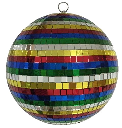 Huge 12 Inch Rainbow Colored Reflection Mirror Disco Party Ball ()