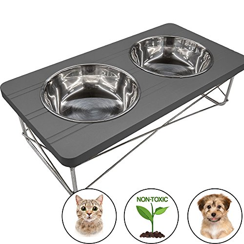 Easyology Stainless Steel Elevated Feeder Bowls for Cats and Small Dogs, Dark Gray
