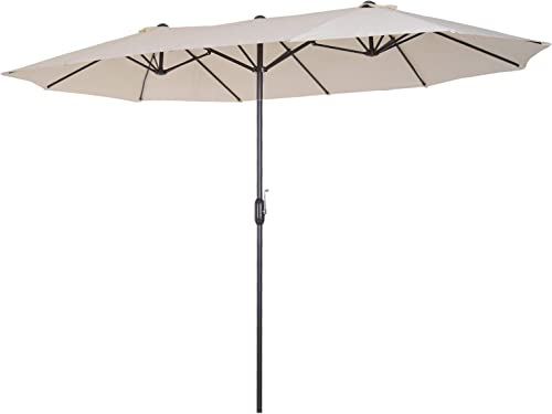 Outsunny 15 Steel Rectangular Outdoor Double Sided Market Patio Umbrella with UV Sun Protection Easy Crank, White
