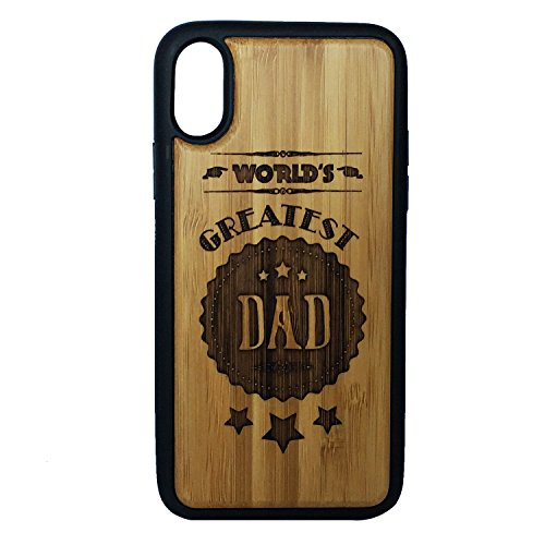 World's Greatest Dad Phone Case Cover for iPhone XR by iMakeTheCase | Eco-Friendly Bamboo Wood Cover + TPU Wrapped Edges | Rustic Dads Daddy Man Men Husband