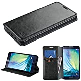 Samsung Galaxy A7 Case, NageBee - Wallet Flip Case Pouch Cover Fold Stand case Premium Leather Wallet Flip Case with free Microfiber Cleaning Cloth for Samsung Galaxy A7 A700 (Flip Wallet Black)