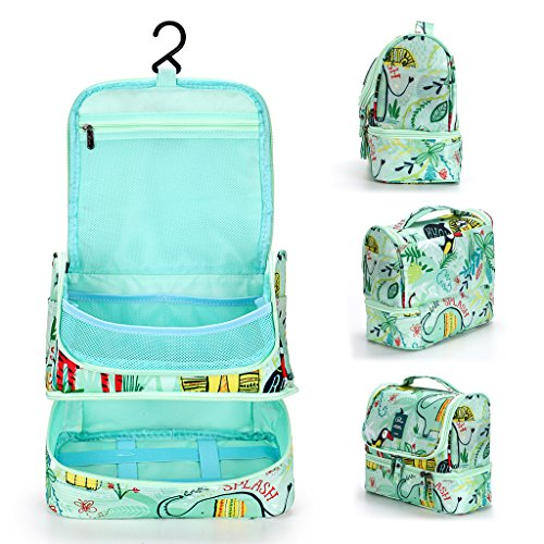 1bd9ebb7a1 IGNPION Double Layer Make up Cosmetic Bag Unisex Travel Toiletry Wash Bag  Waterproof Bathroom Organiser with Hanging Hook - Separate Space Design for  Wet ...