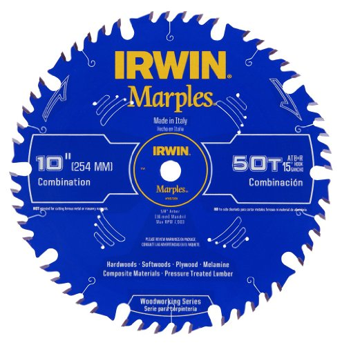 - Irwin Tools  1807368 Marples Laser Cut 10-Inch 50-Tooth Alternate Tooth Bevel with Raker Tooth Circular Saw Blade