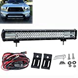 Liteway Upgraded Version Three Rows 23Inch 324W CREE LED Light Bar Spot Flood Combo Driving Work Lamp Waterproof for Offroad with Mounting Brackets & Wiring Harness