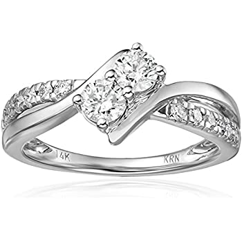 Two Stone Diamond 14k White Gold Ring 3 4cttw H I Color I2